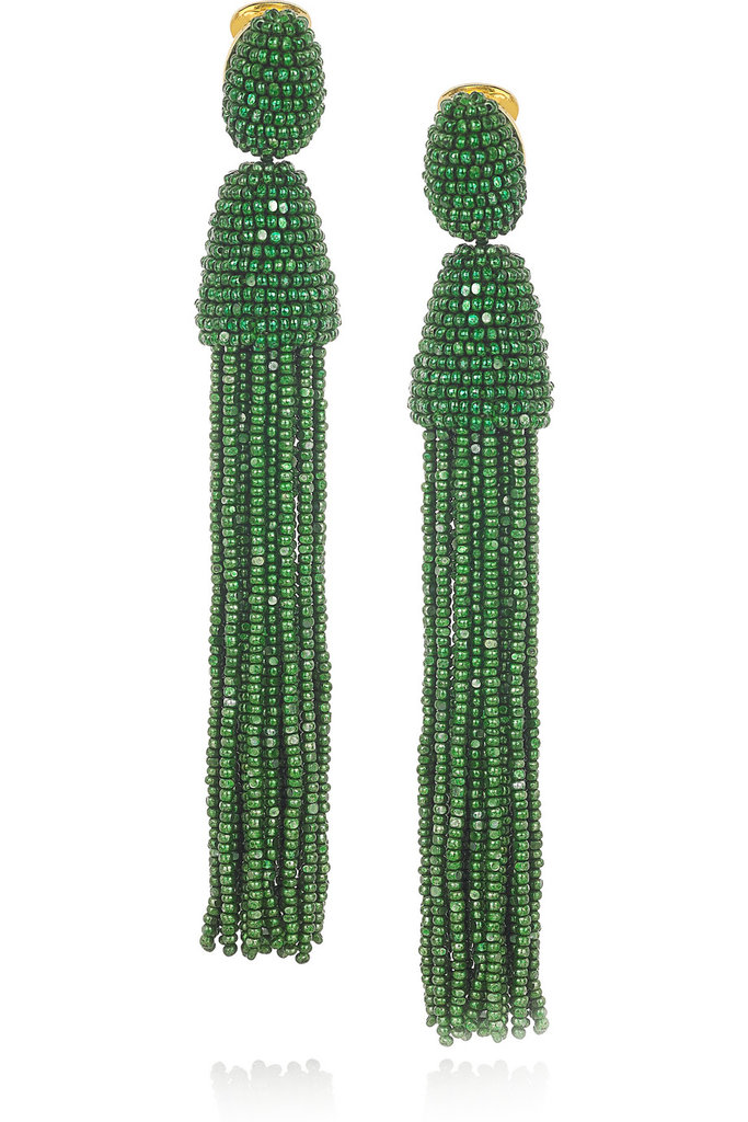Pair these Oscar de la Renta Beaded Tassel Clip Earrings ($395) with a strapless black dress for an elegant night-out look.