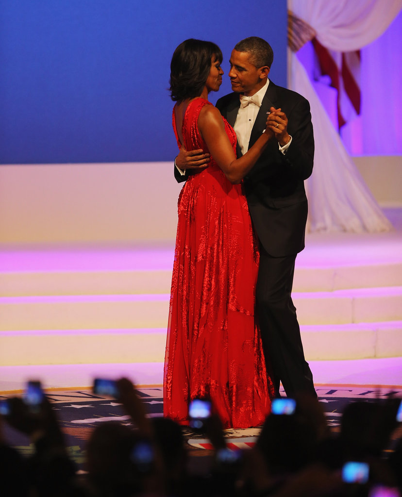The dress's subtle print was easier to spot once the first couple began to dance.