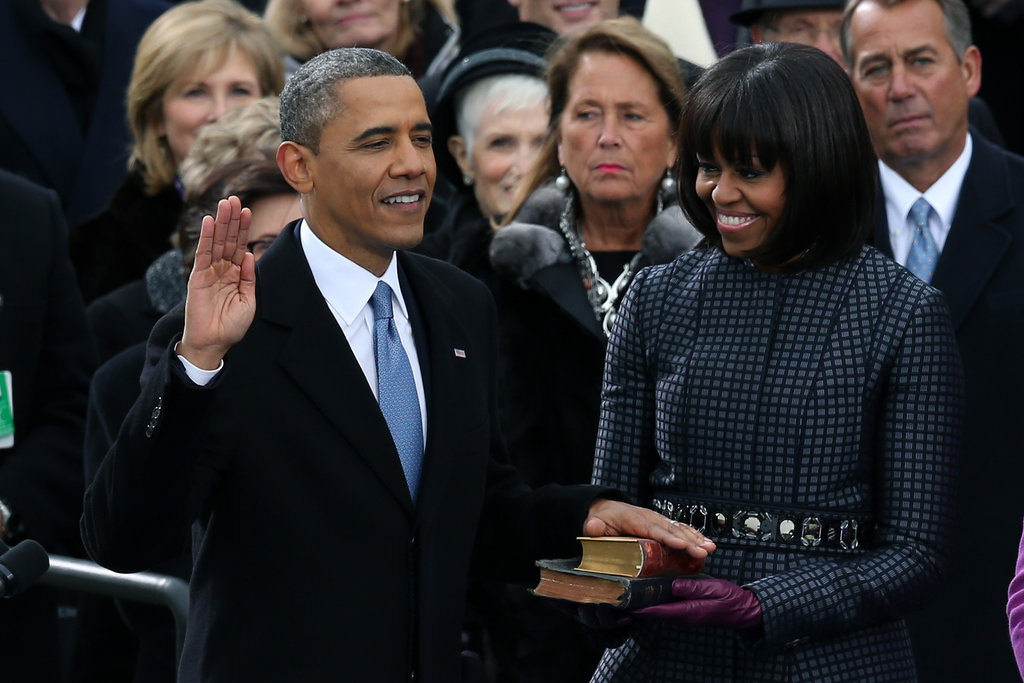 Barack Obama swore in for his second term with wife Michelle by his side.