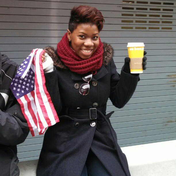 """My inauguration coffee break... waiting for the parade!"" Source: Instagram user stylreesta"