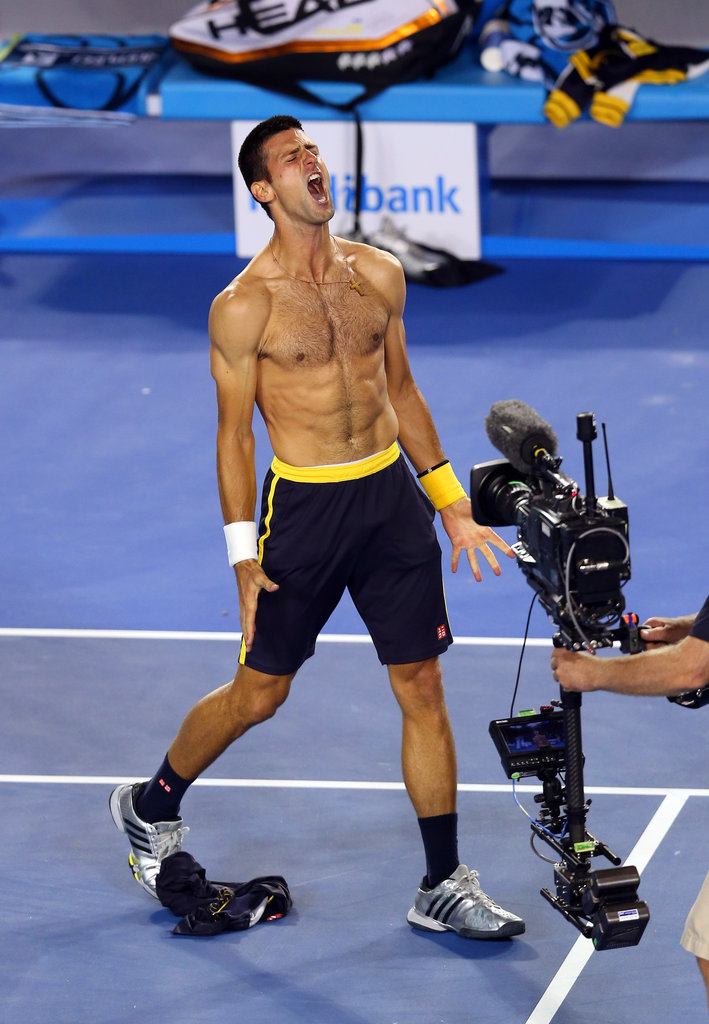 Novak Djokovic celebrated his win after an epic five-set match with Stanislas Wawrinka at the 2013 Australian Open by taking his top off.