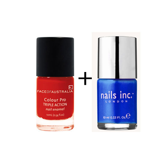Face of Australia Colour Pro Triple Action Nail Enamel in Flaming Lava ($6.95) + Nails Inc Nail Polish in Baker Street ($19.95)