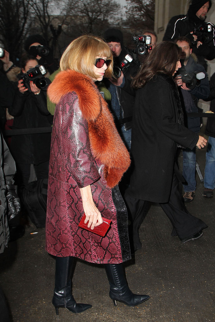 On Tuesday, Anna Wintour arrived at the Spring/Summer 2013 Chanel Haute Couture show in Paris.