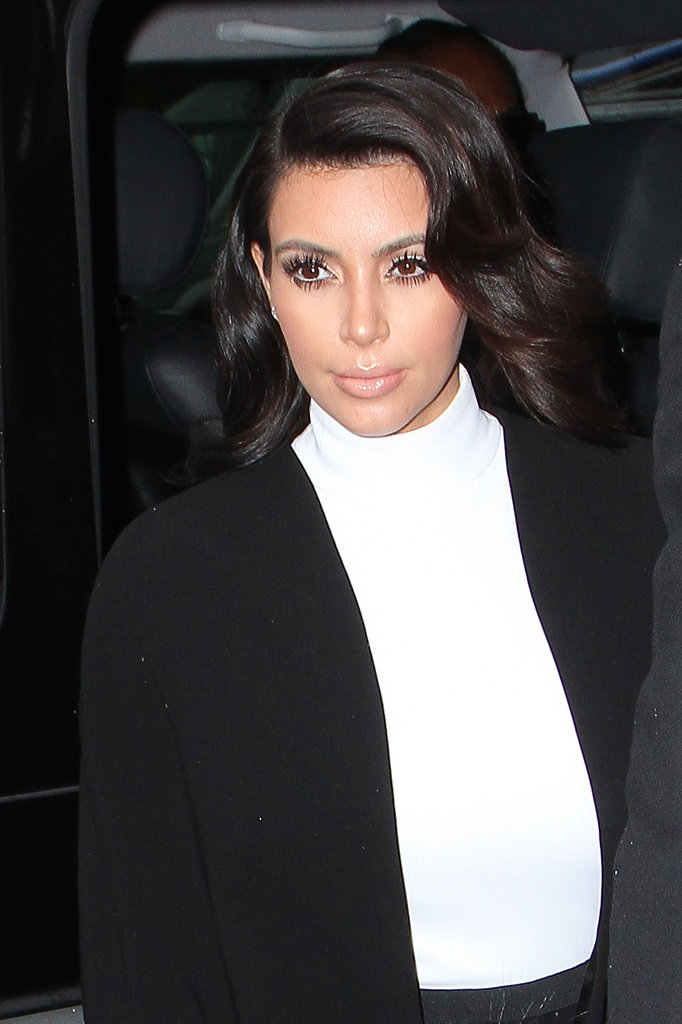 Kim Kardashian kept her ensemble classic in black and white.