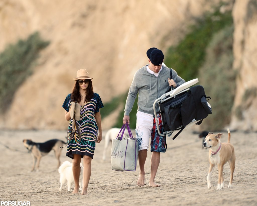 Channing Tatum and Jenna Dewan brought their dogs with them to the beach.