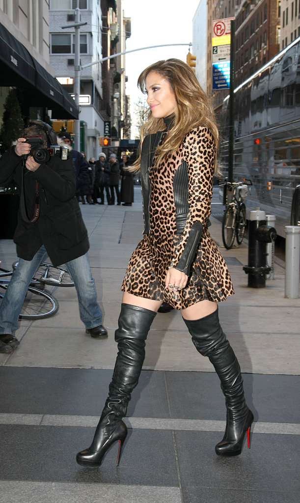 Jennifer Lopez walked in NYC wearing a pair of Christian Louboutin boots.