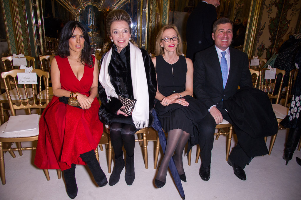 Salma Hayek, Lee Radziwill, Susan Tolson and Charles H Rivkin attended the Giambattista Valli show.