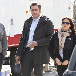 Jake Gyllenhaal and Hugh Jackman on Set Together