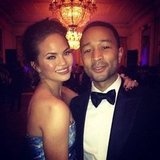 Chrissy Teigen and John Legend shared a sweet snap during the Inaugural Ball. Source: Instagram user chrissy_teigen