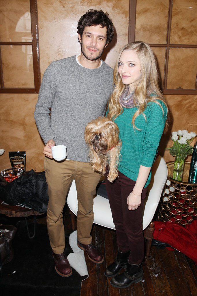 Amanda Seyfried accessorised her jewel-toned separates with moto boots, a precious puppy, and the equally adorable Adam Brody.