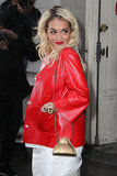 Rita Ora's bright red jacket provided all the colour jolt we need in one wintry staple.