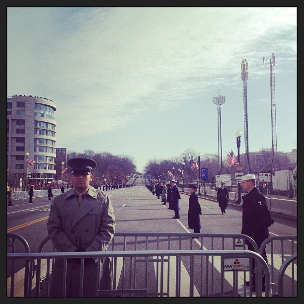 Military service members lined the parade route on Inauguration Day.