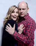Hell Baby stars Leslie Bibb and Rob Corddry made silly faces and embraced in their photo shoot.