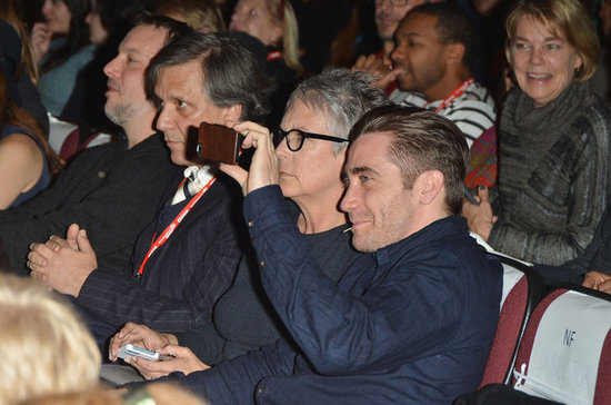 Jake Gyllenhaal spent time on his phone in Park City.