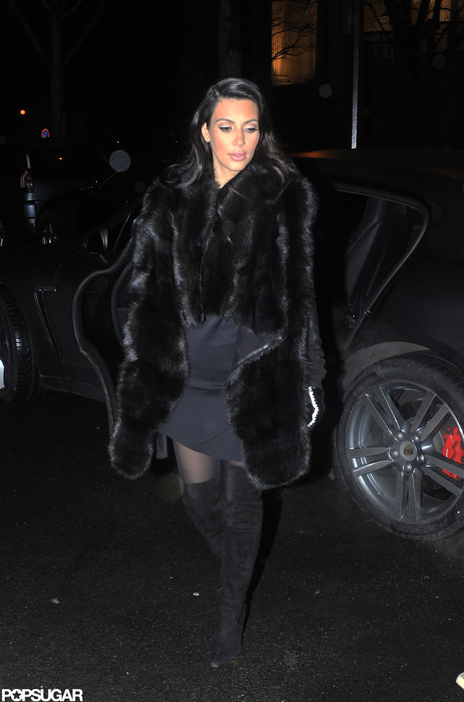 Kim Kardashian went out to dinner in Paris.