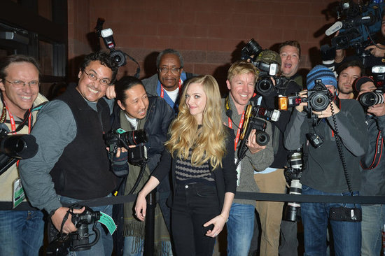 Amanda Seyfried smiled for photographers in Park City.