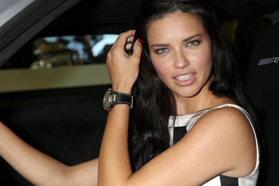 Adriana Lima posed in a sports car in Switzerland.