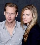 The East actors Alexander Skarsgard and Brit Marling stopped by the portrait studio together to promote the film.