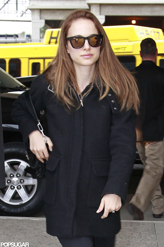 Natalie Portman wore sunglasses at LAX.