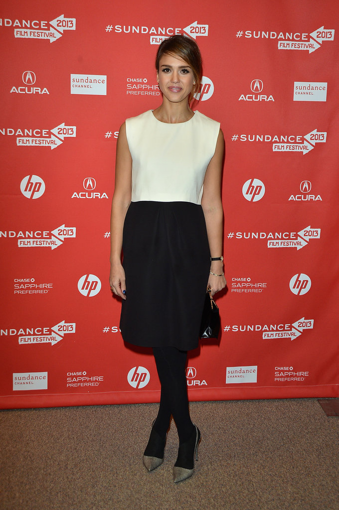 Jessica Alba wore a black-and-white dress to Sundance.