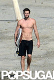 Liam Hemsworth went shirtless in Costa Rica.