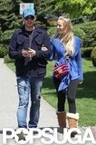 Luisana Lopilato smiled at Michael Bublé during a walk around Vancouver in May 2011.