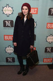 Mary Elizabeth Winstead hit Sundance in a fur-collared coat, a maroon beanie, and a studded bag.