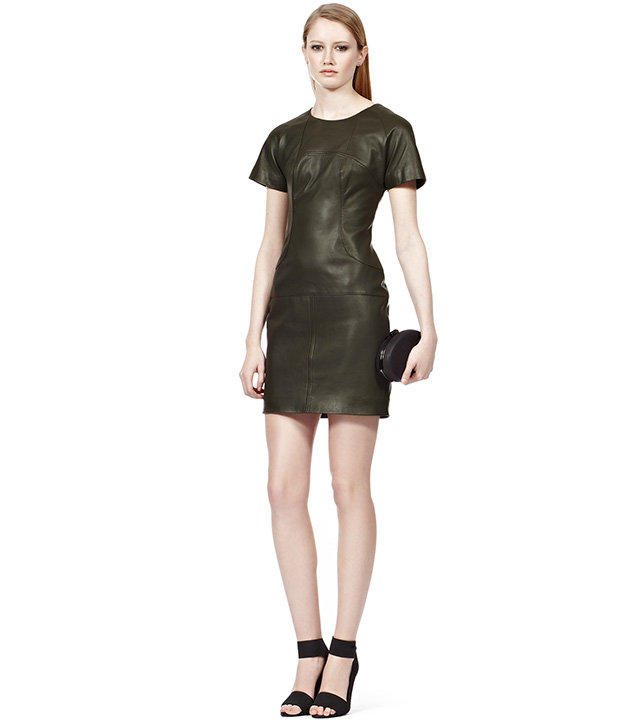 To make a seriously hot impression, finish this Reiss Eugenie Leather Dress ($520) with a pair of red pumps or sexy ankle-strap sandals.