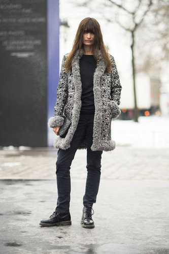 Furry, tweedy textures lend luxe to skinny black bottoms and Dr. Martens. Source: Adam Katz Sinding