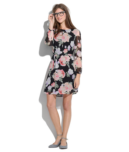 Embrace Spring's florals on this sweet Madewell Melody Dress ($160), and don't be afraid to add black tights and heels to dress (and warm) it up for your night out.