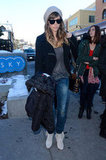 Jessica Biel walked the streets of Park City, UT, in a black Joe's biker sweater, faded skinny jeans, fringed booties, and a slouchy beanie.