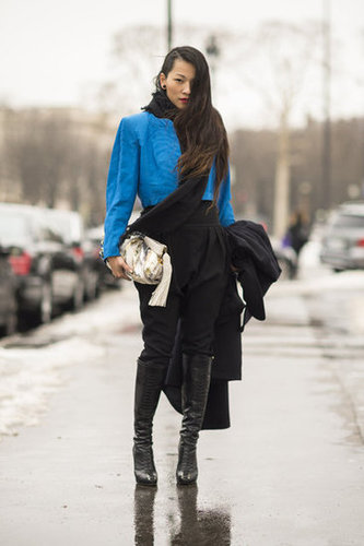 A shot of blue gives all-black a striking finish. Source: Adam Katz Sinding