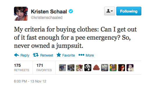 Kristen is anti-jumpsuits.
