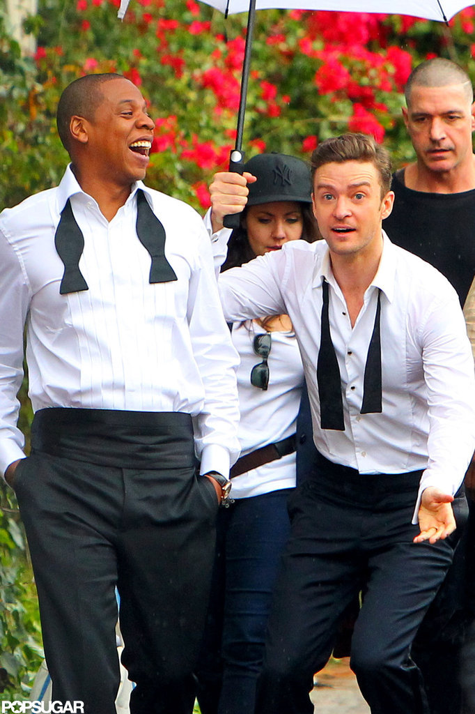 "Justin Timberlake and Jay-Z suited up and goofed around on the LA set of their ""Suit & Tie"" video."