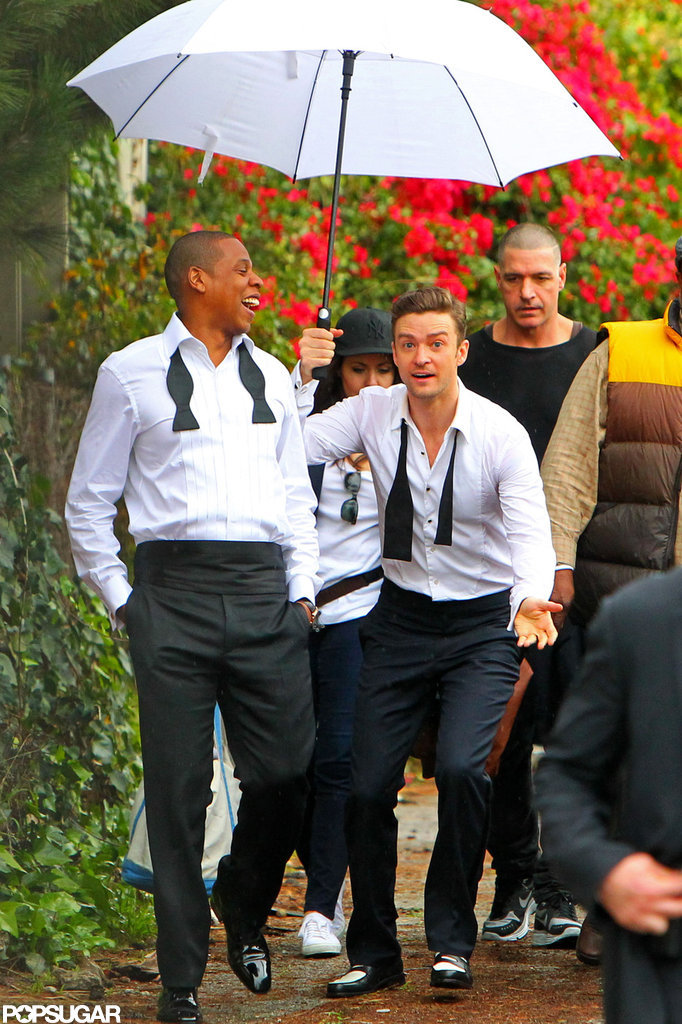 "Jay-Z and Justin Timberlake suited up to film ""Suit & Tie"" in LA."