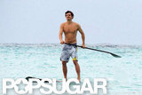 Orlando Bloom went paddleboarding shirtless.