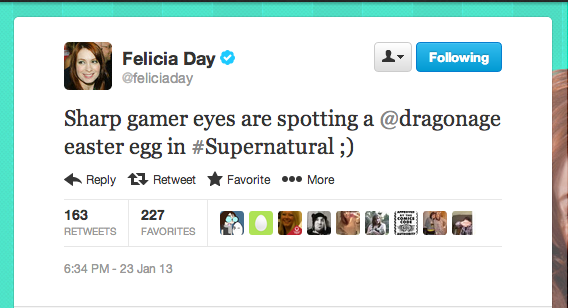 "Geek & Sundry's Felicia Day made an appearance on Supernatural this week in ""LARP and the Real Girl."""