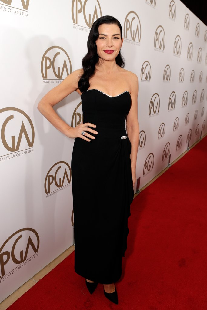Julianna Margulies channeled an Old Hollywood look in a black strapless corset dress and matching pumps.