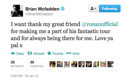 Sounds like Ronan and Brian's friendship is going strong — that's what we like to hear!