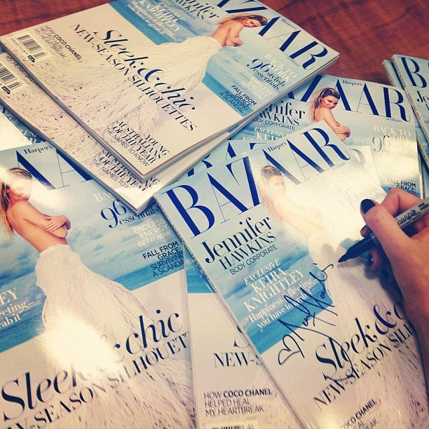 Jennifer Hawkins signed copies — lots of copies — of her latest c Source: Instagram user jenhawkins_ over for Harper's Bazaar.