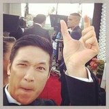Harry Shum Jr. found Mark Salling on the red carpet. Source: Instagram user harryshum