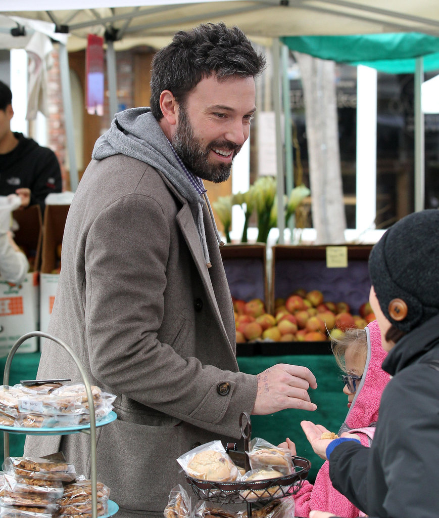 Ben Affleck laughed at a farmers market.