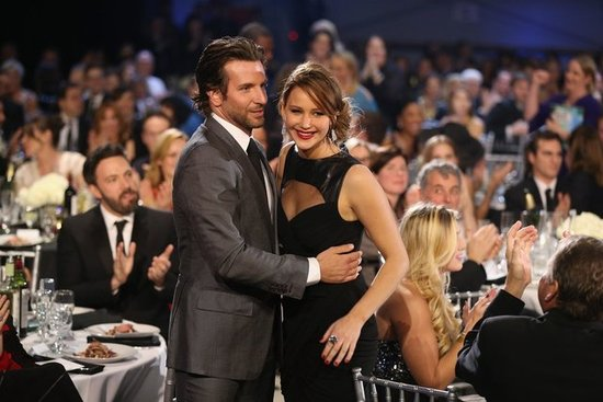 Bradley Cooper gave a big hug to his Silver Linings Playbook costar Jennifer Lawrence at January's Critics' Choice Awards.