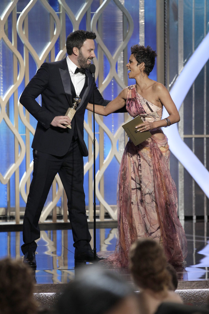 Ben Affleck accepted his Golden Globe from Halle Berry.
