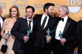Ben Affleck shared his winning excitement with his Argo cast in the press room.