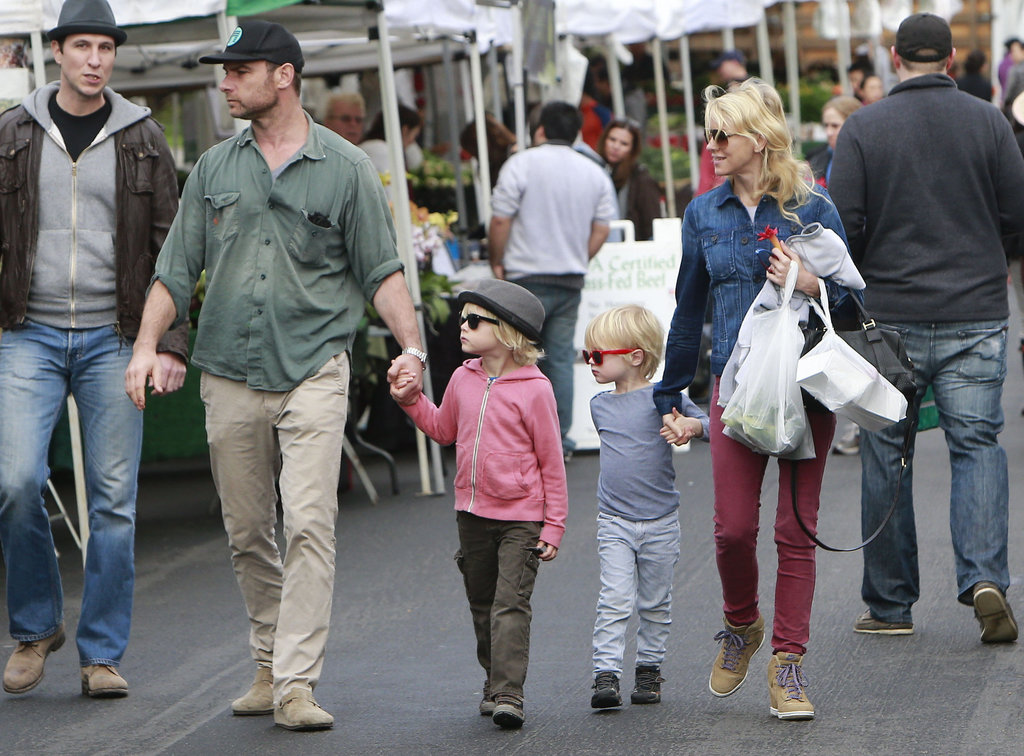 Naomi Watts and Liev Schreiber walked through the Brentwood Farmers' Market Sunday.
