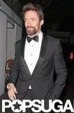 Hugh Jackman wore a black tuxedo.