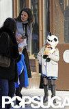 Katie Holmes walked with Suri Cruise on Sunday while Suri wore a panda hat.