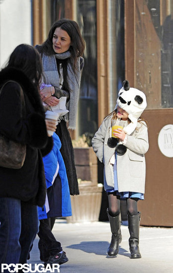 Katie Holmes walked with Suri Cruise on Sunday while Suri wore a panda hat.