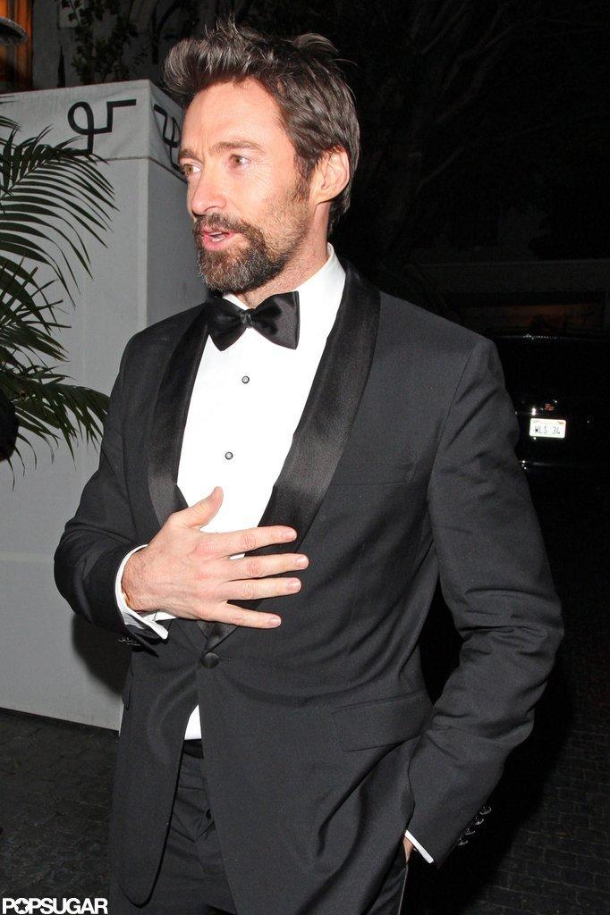 Hugh Jackman left the Chateau Marmont in LA.